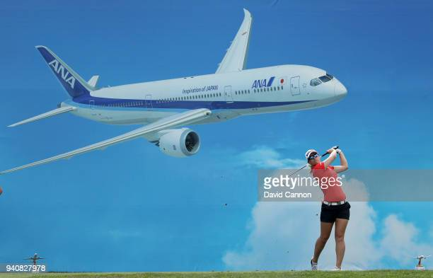Jodi Ewart Shadoff of England plays her tee shot on the eighth hole during the final round of the 2018 ANA Inspiration on the Dinah Shore Tournament...