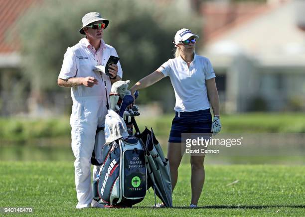 Jodi Ewart Shadoff of England prepares to play her second shot on the par 5 18th hole during the second round of the 2018 ANA Inspiration on the...