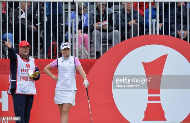 Jodi Ewart Shadoff of England prepares to play her tee shot at the 1st hole during the final day of the Ricoh Women's British Open at Kingsbarns Golf...