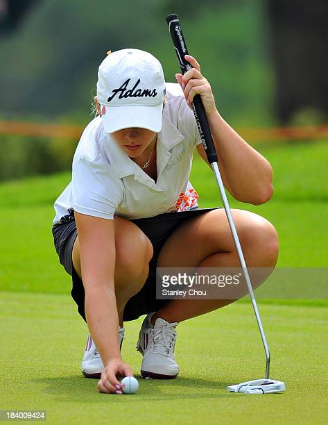 Jodi Ewart Shadoff of England prepares to putt on the 3rd hole during day two of the Sime Darby LPGA Malaysia at Kuala Lumpur Golf Country Club on...