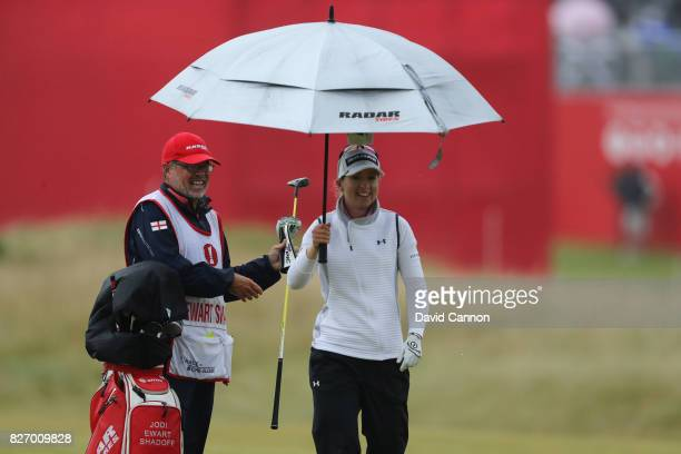 Jodi Ewart Shadoff of England reacts to her second shot on the 17th hole during the final round of the Ricoh Women's British Open at Kingsbarns Golf...
