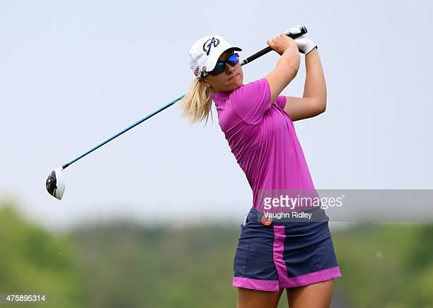 Jodi Ewart Shadoff of England takes her first shot on the 7th hole during the first round of the Manulife LPGA Classic at the Whistle Bear Golf Club...