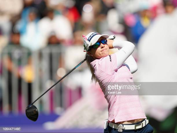 Jodi Ewart Shadoff of England tees off at first hole during the final round of the Swinging Skirts LPGA Taiwan Championships at Ta Shee Golf Country...