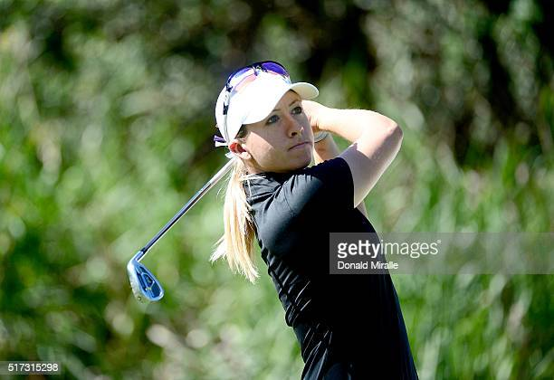 Jodi Ewart Shadoff of England tees off the 3rd hole during Round One of the KIA Classic at the Park Hyatt Aviara Resort on March 24 2016 in Carlsbad...