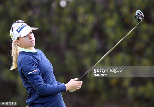 Jodi Ewart Shadoff of England watches her shot on the 14th hole during round one of the HugelJTBC Championship at the Wilshire Country Club on April...