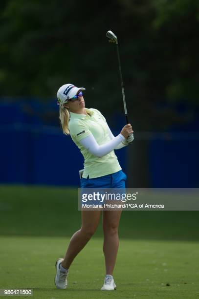 Jodi Ewart Shadoff of England watches her shot on the ninth hole during the first round of the 2018 KPMG Women's PGA Championship at Kemper Lakes...