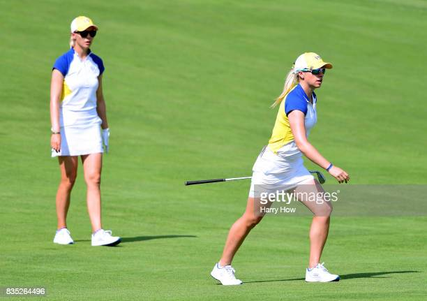 Jodi Ewart Shadoff of Team Europe looks for her shot with Madelene Sagstrom on the ninth fairway during the afternoon fourball matches of the Solheim...