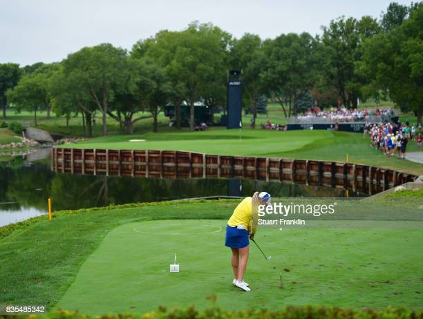 Jodi Ewart Shadoff of Team Europe plays a shot during the second day morning foursomes matches of The Solheim Cup at Des Moines Golf and Country Club...