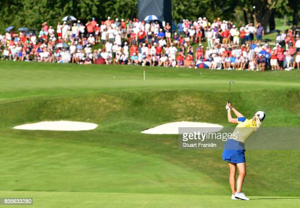 Jodi Ewart Shadoff of Team Europe plays a shot during the second day afternoon fourball matches of The Solheim Cup at Des Moines Golf and Country...