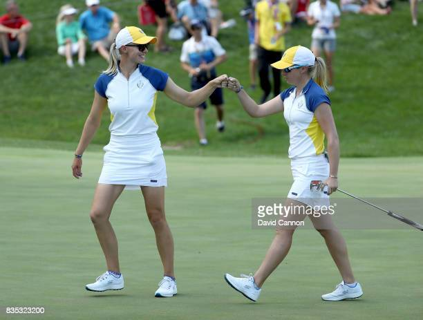 Jodi Ewart Shadoff of the European Team celebrates holing a putt for a birdie on the 10th hole in her match with Madelene Sagstrom against Michelle...