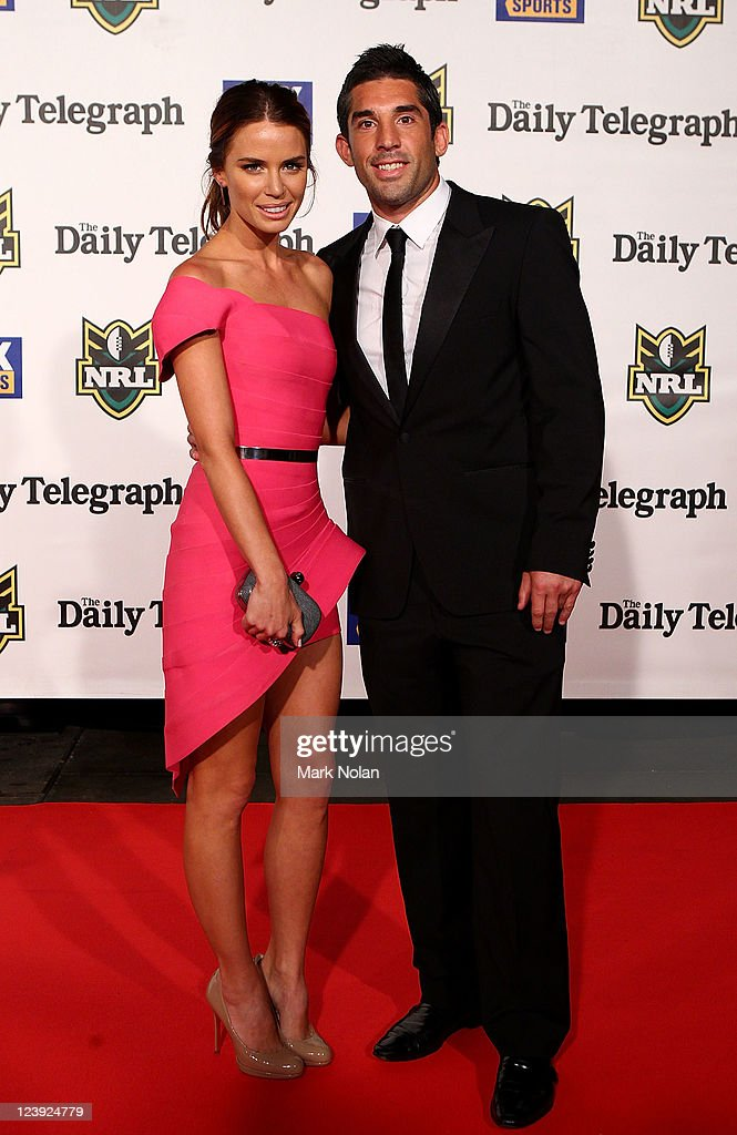 Jodi Gordon and Braith Anasta pose on the red carpet before the 2011 Dally M Awards at the Royal Hall of Industries, Moore Park on September 6, 2011 in Sydney, Australia.