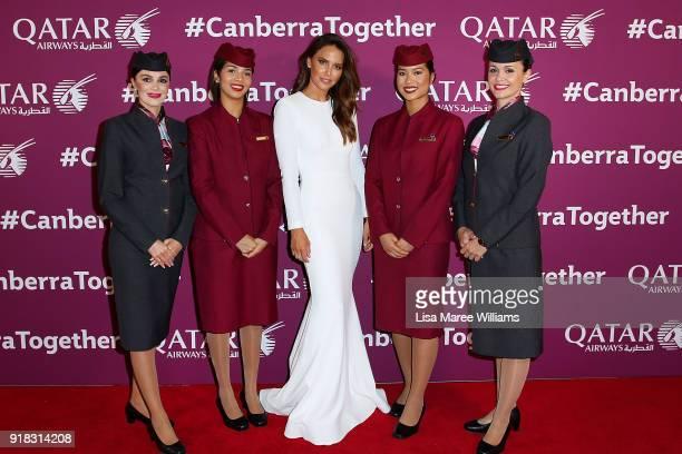 Jodi Gordon arrives at the Qatar Airways Canberra Launch gala dinner on February 13 2018 in Canberra Australia