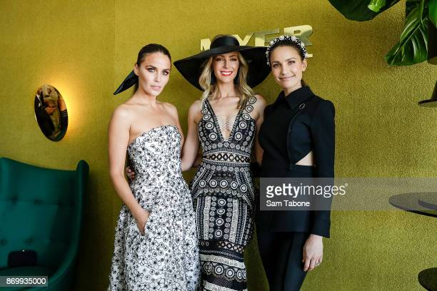 Jodi Gordon Jennifer Hawkins and Rachael Finch pose at the Myer Marquee on Derby Day at Flemington Racecourse on November 4 2017 in Melbourne...