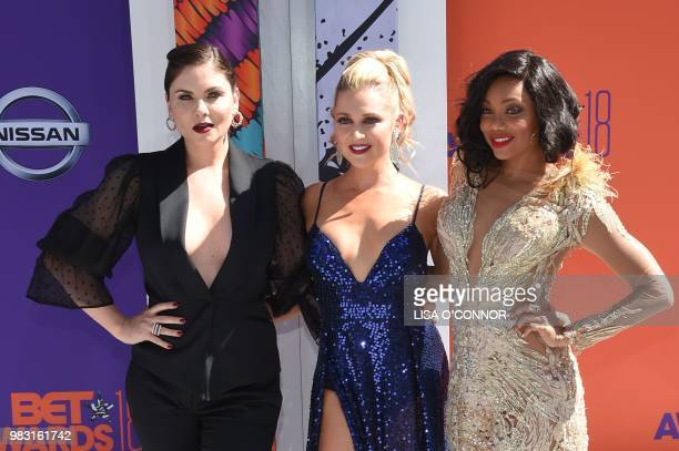 Jodi Lyn O'Keefe Katherine Bailess and Tiffany Hines pose upon arrival for the BET Awards at Microsoft Theatre in Los Angeles California on June 24...
