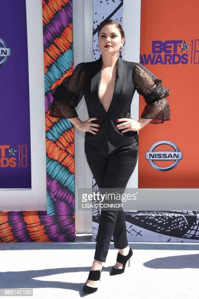 Jodi Lyn O'Keefe poses upon arrival for the BET Awards at Microsoft Theatre in Los Angeles California on June 24 2018