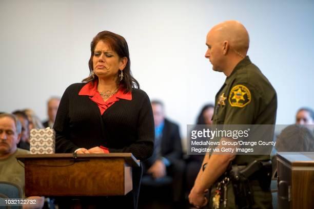 Jodi Pier Estepp mother of murder victim Jarrae Estepp delivers a victim impact statement during the sentencing of Steven Gordon in Santa Ana...
