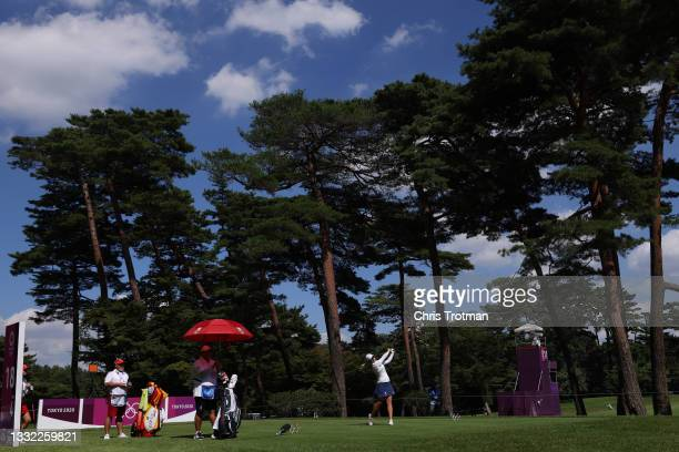Jodi Shadoff of Team Great Britain plays her shot from the 18th tee during the first round of the Women's Individual Stroke Play on day twelve of the...