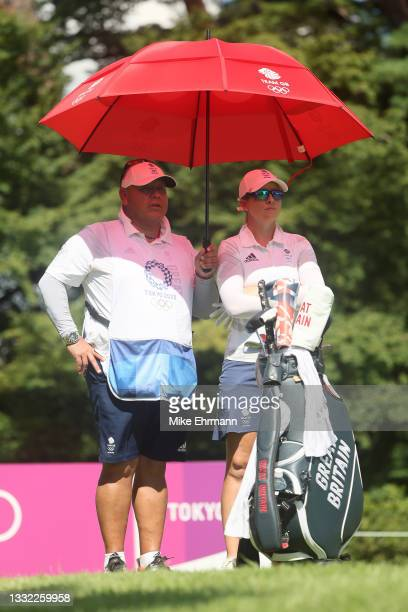 Jodi Shadoff of Team Great Britain waits on the 18th tee with caddie Juan Carlos during the first round of the Women's Individual Stroke Play on day...