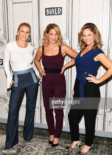 Jodi Sweetin Candace Cameron Bure and Andrea Barber visit Build to chat about the new season of 'Fuller House' at Build Studio on September 18 2017...