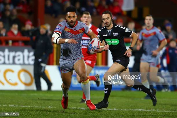 Jodie Broughton of the Catalans Dragons makes an attacking run during the BetFred Super League match between Hull KR and Catalans Dragons at KCOM...