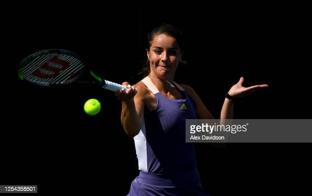 Jodie Burrage hits a forehand during the British Tour Women's Final between Jodie Burrage and Emma Raducanu on Day Four of The British Tour at...