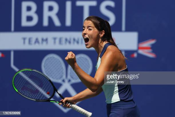 Jodie Burrage of Union Jacks celebrate winning her match against Harriet Dart of British Bulldogs during day four of the St James's Place Battle Of...