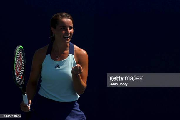 Jodie Burrage of Union Jacks celebrates a point against Sarah Beth Grey of British Bulldogs during day five of the St James's Place Battle of The...