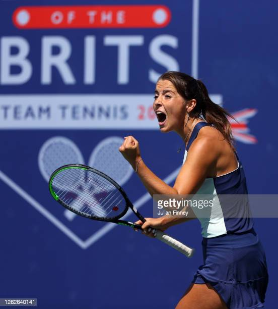 Jodie Burrage of Union Jacks celebrates winning her match against Harriet Dart of British Bulldogs during day four of the St James's Place Battle Of...