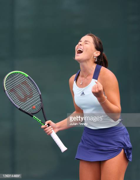 Jodie Burrage of Union Jacks celebrates winning her women's singles match against Emma Raducanu of British Bulldogs during day six of the St James's...