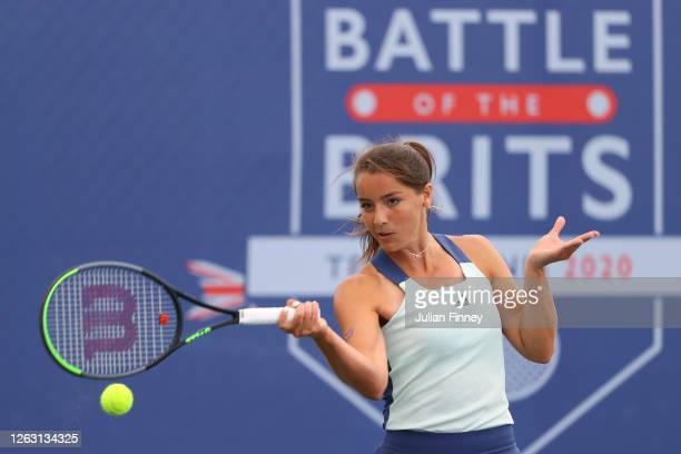 Jodie Burrage of Union Jacks in action during her women's singles match against Emma Raducanu of British Bulldogs during day six of the St James's...