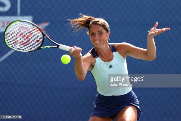 Jodie Burrage of Union Jacks plays a forehand in her singles match against Harriet Dart of British Bulldogs during day seven of the St James's Place...