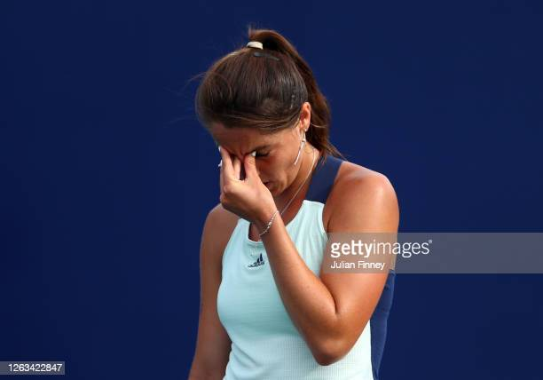 Jodie Burrage of Union Jacks reacts in her singles match against Harriet Dart of British Bulldogs during day seven of the St James's Place Battle Of...