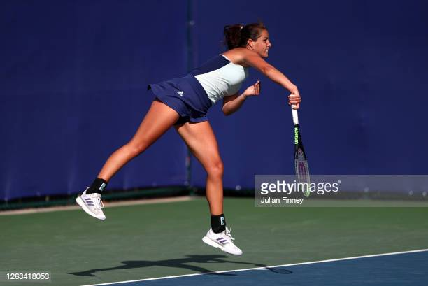 Jodie Burrage of Union Jacks serves in her singles match against Harriet Dart of British Bulldogs during day seven of the St James's Place Battle Of...