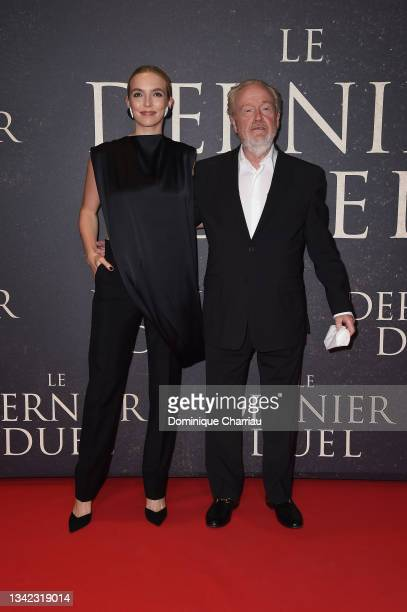 """Jodie Comer and Ridley Scott attend the French premiere of 20th Century Studios' """"The Last Duel"""" at cinema Gaumont Champs Elysees on September 24,..."""