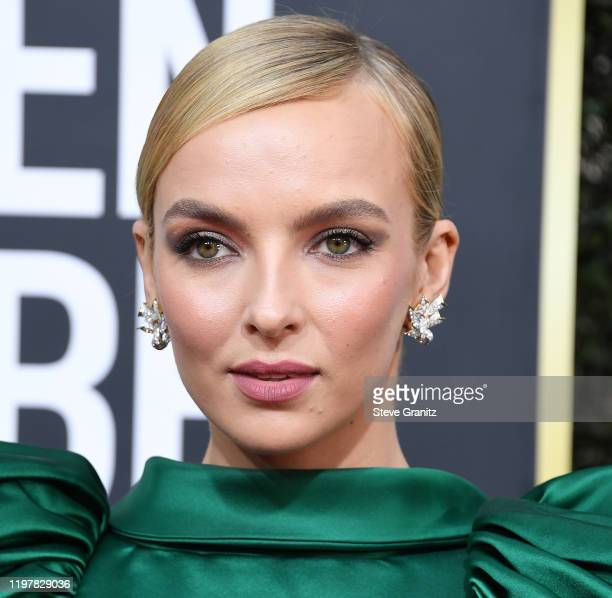 Jodie Comer arrives at the 77th Annual Golden Globe Awards attends the 77th Annual Golden Globe Awards at The Beverly Hilton Hotel on January 05,...