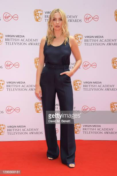Jodie Comer arrives at the Virgin Media British Academy Television Awards 2021 at Television Centre on June 6, 2021 in London, England.