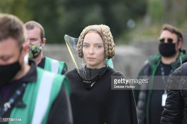 Jodie Comer arrives on set to film 'The Last Duel' at on September 29, 2020 in Cahir, Co.Tipperary.