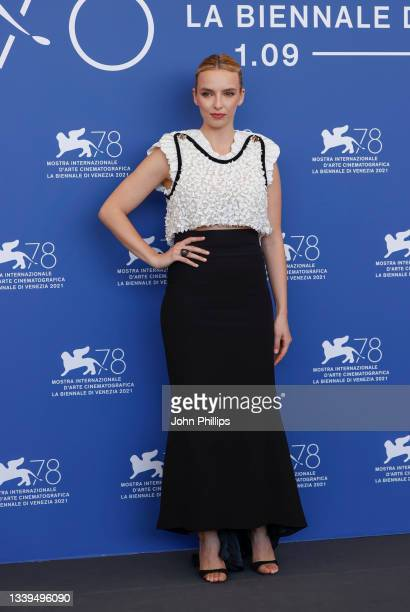 """Jodie Comer attends the photocall of 20th Century Studios' movie """"The Last Duel"""" during the 78th Venice International Film Festival on September 10,..."""