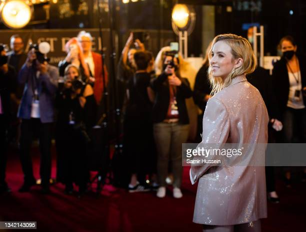 """Jodie Comer attends the """"The Last Duel"""" UK Premiere at Odeon Luxe Leicester Square on September 23, 2021 in London, England."""