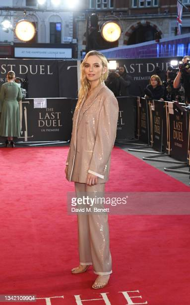 """Jodie Comer attends the UK Premiere of """"The Last Duel"""" at Odeon Luxe Leicester Square on September 23, 2021 in London, England."""
