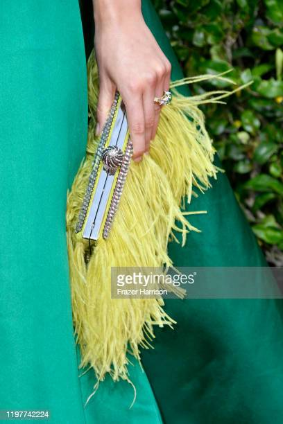 Jodie Comer, bag detail, attends the 77th Annual Golden Globe Awards at The Beverly Hilton Hotel on January 05, 2020 in Beverly Hills, California.