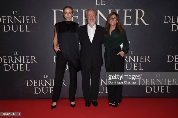 """Jodie Comer, Ridley Scott, and Nicole Holofcener attend the French premiere of 20th Century Studios' """"The Last Duel"""" at cinema Gaumont Champs Elysees..."""