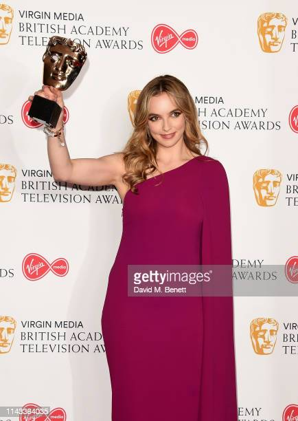 Jodie Comer winner of the Best Leading Actress Award for 'Killing Eve' poses in the press room at the Virgin Media British Academy Television Awards...