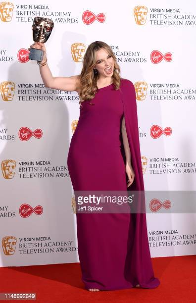 Jodie Comer winner of the Best Leading Actress Award for 'Killing Eve' in the Press Room at the Virgin TV BAFTA Television Award at The Royal...