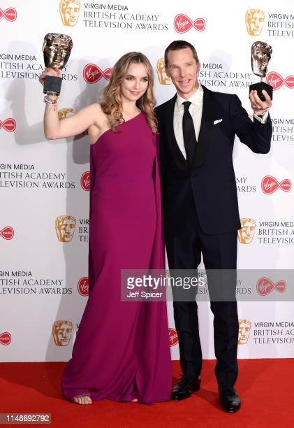 Jodie Comer, winner of the Best Leading Actress Award for 'Killing Eve' and Benedict Cumberbatch, winner of the Best Leading Actor Award for 'Patrick...