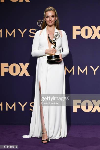 Jodie Comer winner of the Outstanding Lead Actress in a Drama Series award for 'Killing Eve' poses in the press room during the 71st Emmy Awards at...