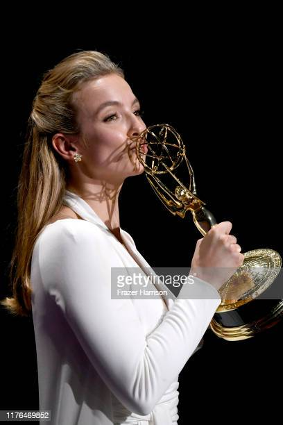 Jodie Comer, winner of the Outstanding Lead Actress in a Drama Series award for 'Killing Eve,' poses in the press room during the 71st Emmy Awards at...