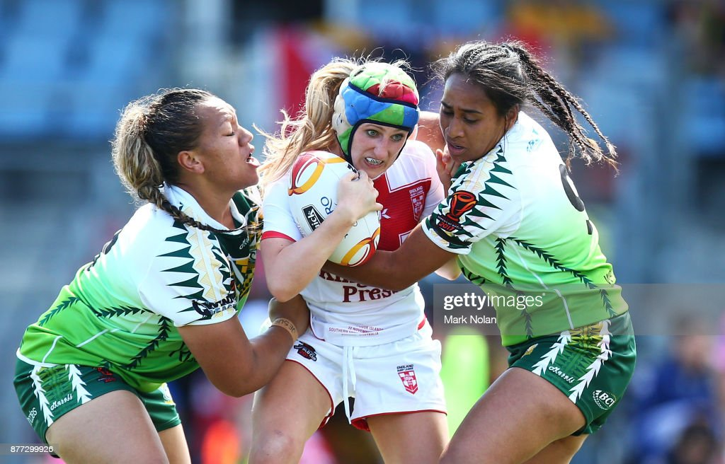 Jodie Cunningham of England is tackled during the Women's Rugby League World Cup match between England and the Cook Islands at Southern Cross Group Stadium on November 22, 2017 in Sydney, Australia.