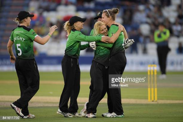 Jodie Dibble and Claire Nicholas of Western Storm celebrates after dismissing Mignon du Preez of Southern Vipers during the Women's Kia Super League...