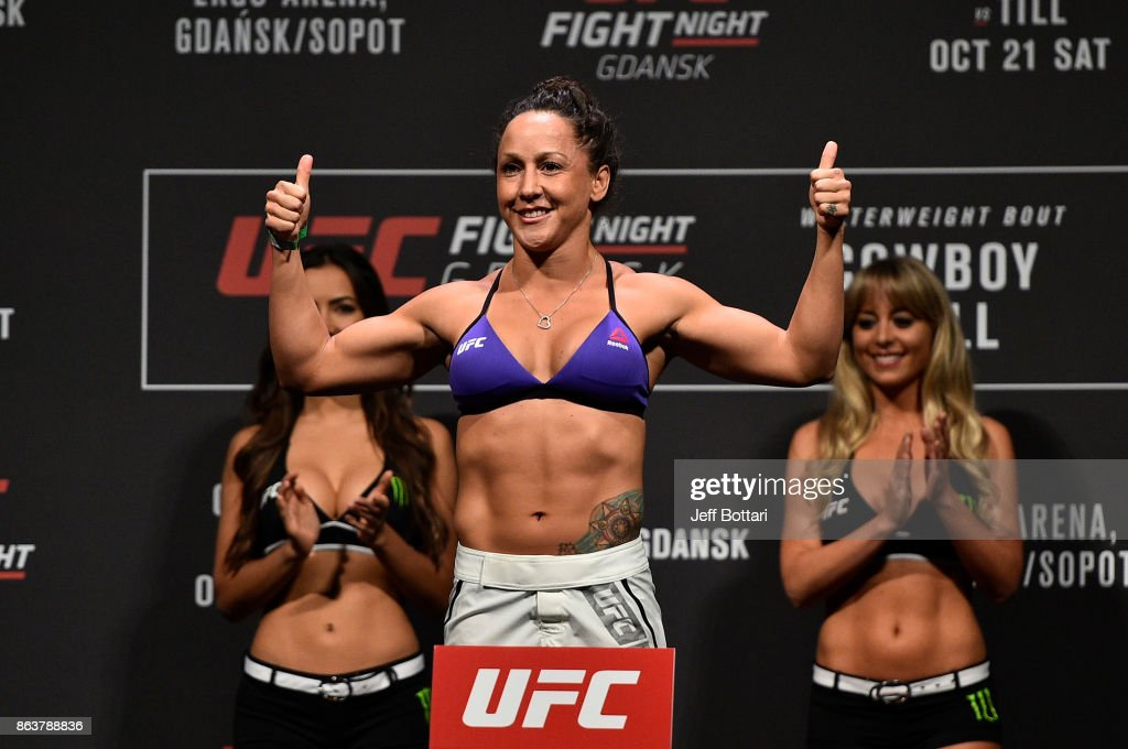 Jodie Esquibel poses on the scale during the UFC Fight Night Weigh-in inside Ergo Arena on October 20, 2017 in Gdansk, Poland.